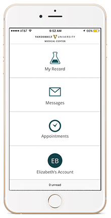 screenshot showing the home screen of the My Health at Vanderbilt app