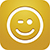App icon showing a winking happy face on a gold background