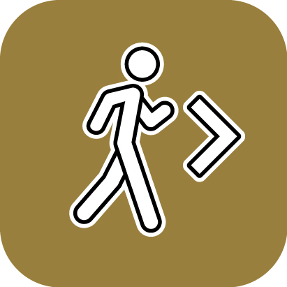 Walkways app icon showing a person walking on a gold background
