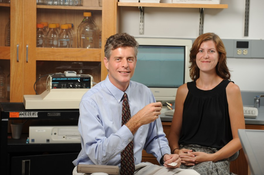 Principal Investigator Stephen Bruehl, PhD, left, and Research Assistant Melissa Chont, conduct research on chronic pain.