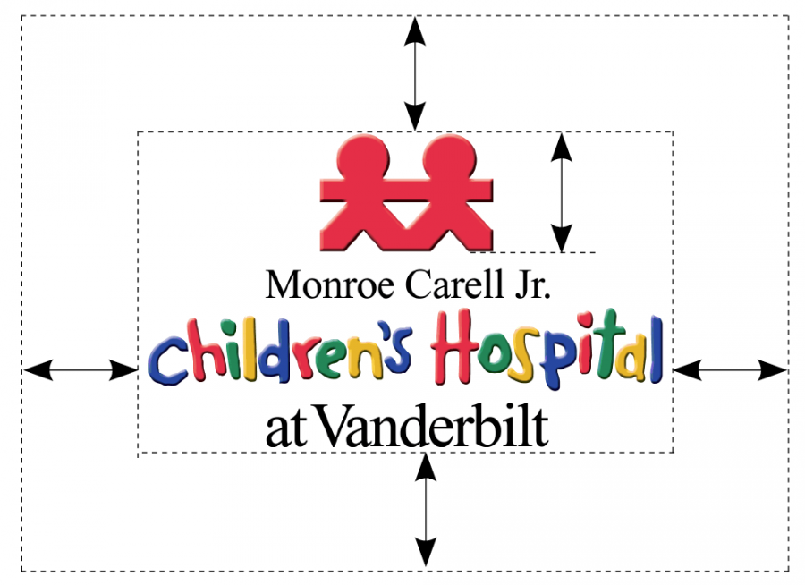 Children's Hospital clear space and size example logo