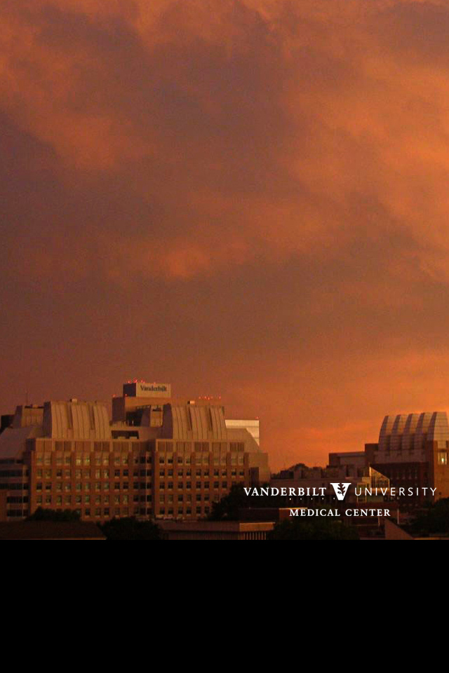 VUMC campus at sunset after a storm