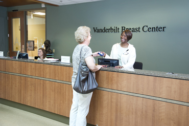 Breast Center reception desk