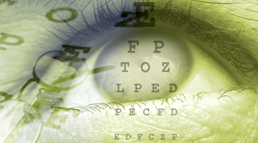 eye chart over eye photo