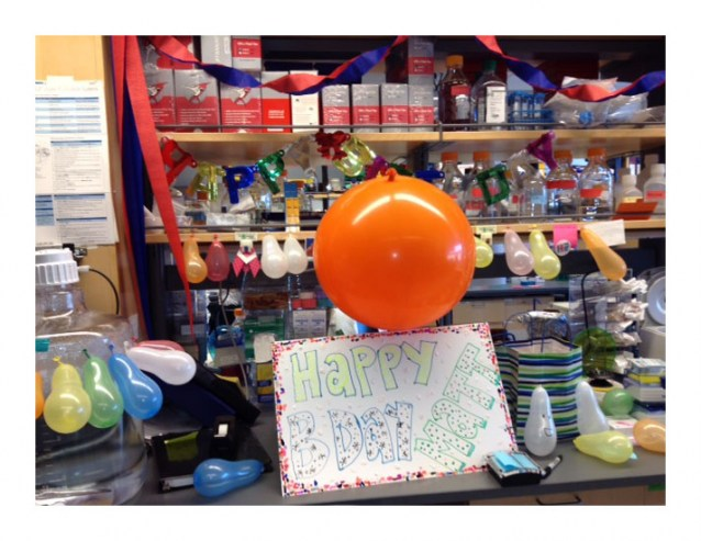 We decorated Matt's bench for his bday!