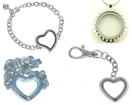 heart bracelet, key chain and round locket