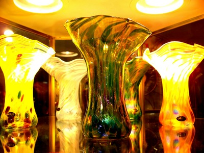 handcrafted blown glass vases