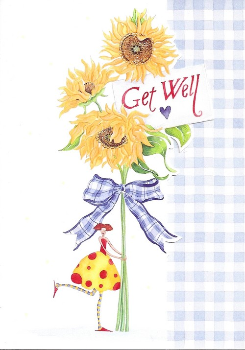 get well card, illustrated sunflowers