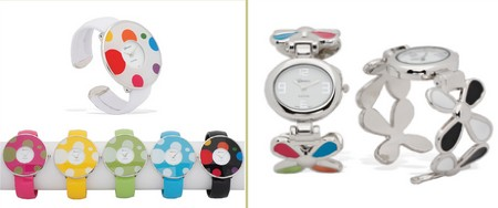 multicolored watches with matching colored bands