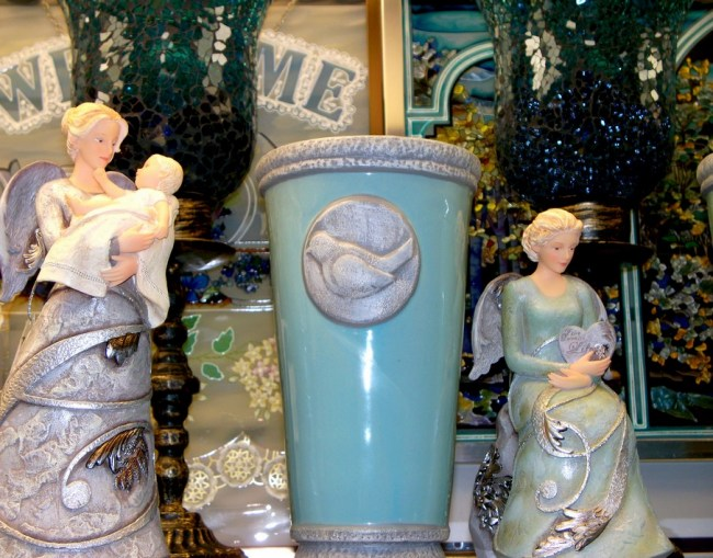 Angel, Spirit statues, cups, plaques
