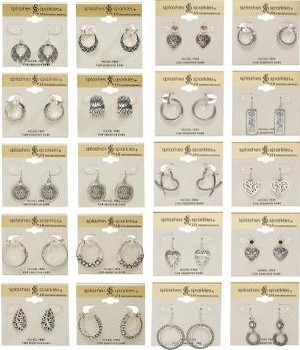 different styles of gold and silver plated earrings