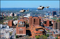 lifeflight helicopter flying over the medical center