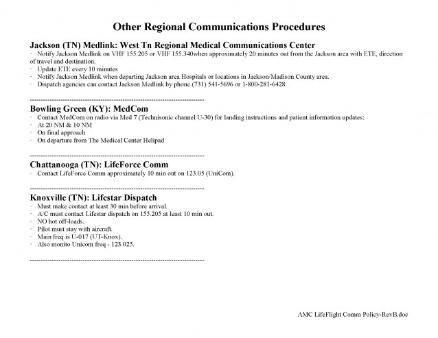 Other Regional Communications Procedures