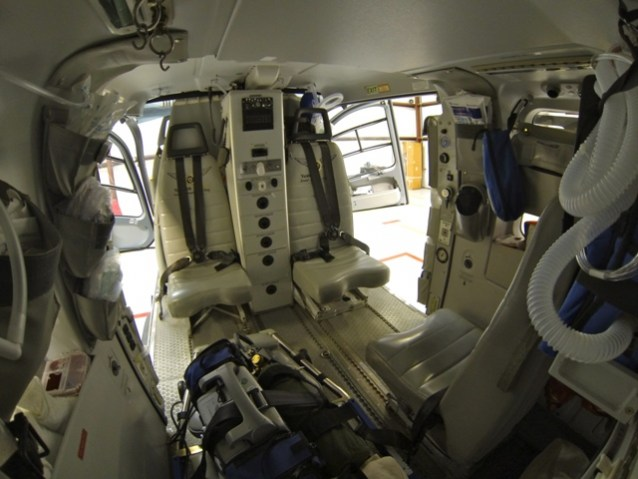The interior of the EC 135 allows for complete patient access during treatment.