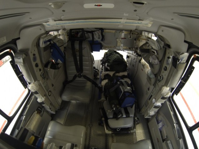 Another photo of the interior of the EC 135 - from the front.