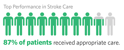 Success in Treating Stroke, 87% of patients received appropriate care