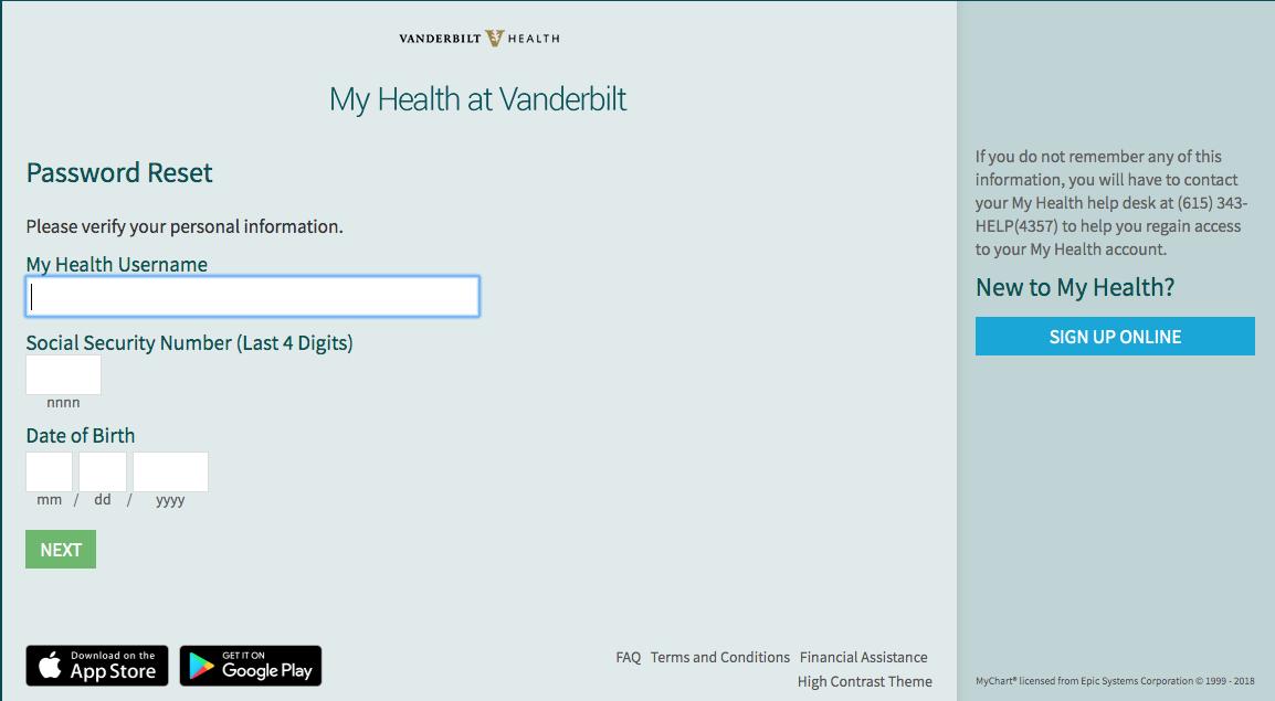 Screenshot of password reset screen in My Health at Vanderbilt