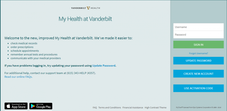 MyHealthAtVanderbilt.com website