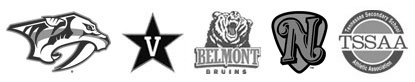 Predators, Vanderbilt, Belmont and Sounds logos