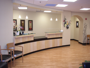 lobby entrance, reception desk
